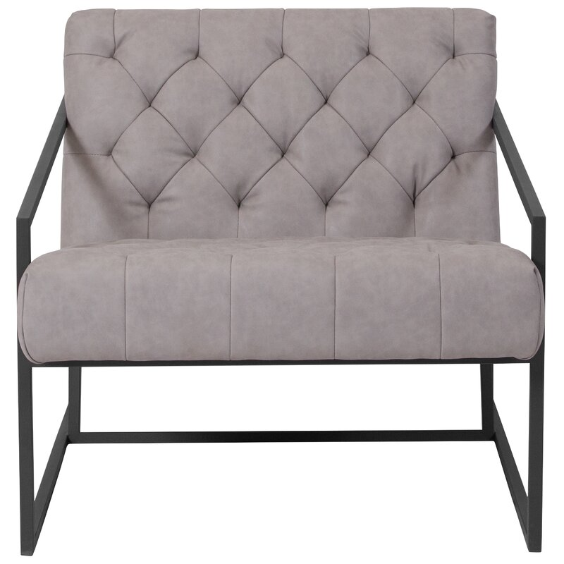 Charming Janney Leather Tufted Lounge Chair