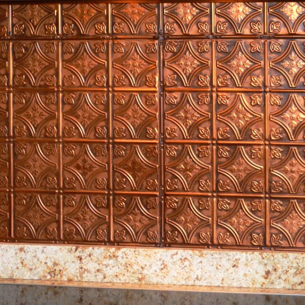 American tin ceilings wayfair 24 x 24 metal backsplash panel kit in rustic copper by american tin ceilings dailygadgetfo Images