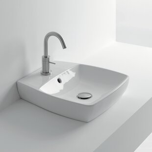 Inexpensive H10 Ceramic 17 Wall Mount Bathroom Sink with Overflow By WS Bath Collections