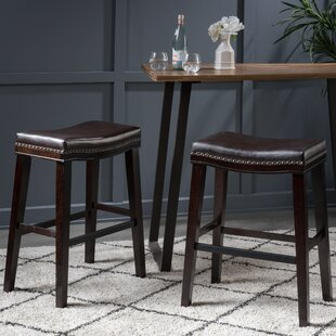 Excellent Nobhill Studded Leather Saddle 30 5 Bar Stool Set Of 2 Bralicious Painted Fabric Chair Ideas Braliciousco