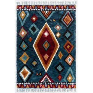 Vittoria Hand Tufted Blue Rug by Gino Falcone