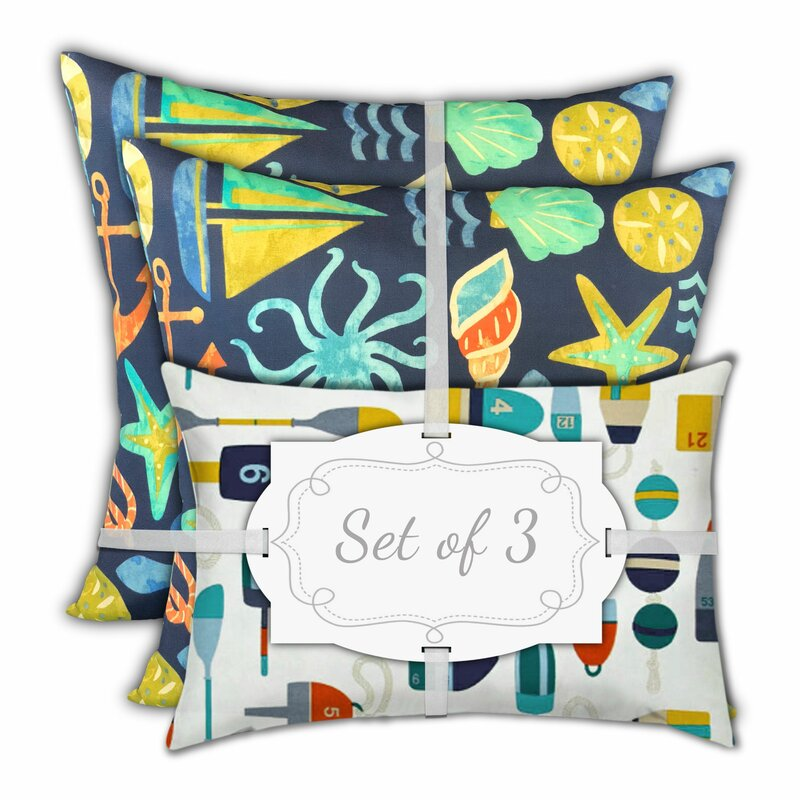 Longshore Tides Barna Dark Ocean Markers Outdoor Rectangular Cushion Cover Wayfair
