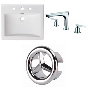Bargain Ceramic Rectangular Drop-In Bathroom Sink with Faucet and Overflow ByAmerican Imaginations