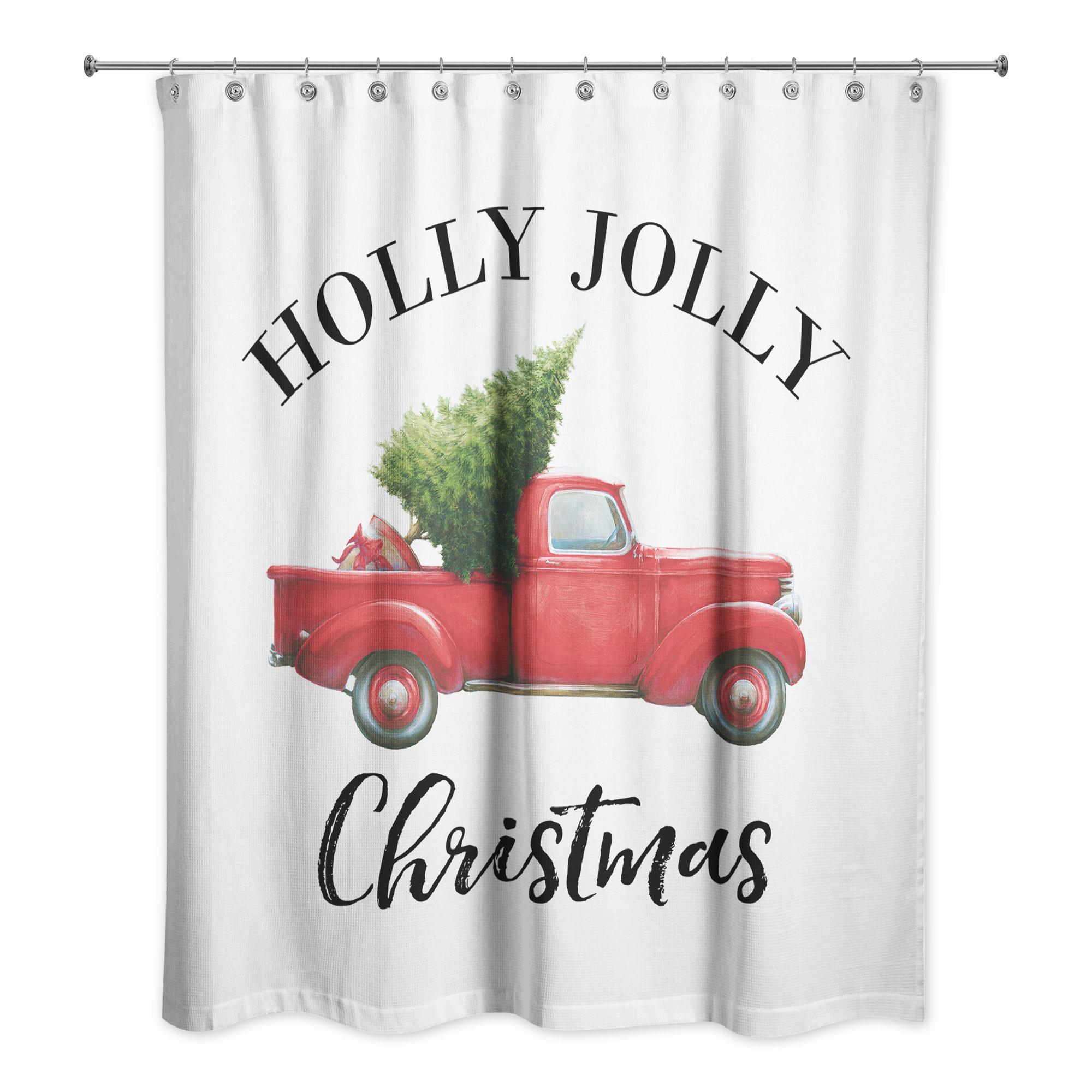 The Holiday Aisle Vonda Christmas Truck Single Shower Curtain Wayfair