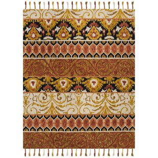 Niederanven Hand Tufted Wool Rust/Yellow/Black Area Rug byBungalow Rose
