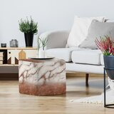 Grab My Art Luxury Metal Copper And Luxury Marble Texture Standard Ottoman by East Urban Home