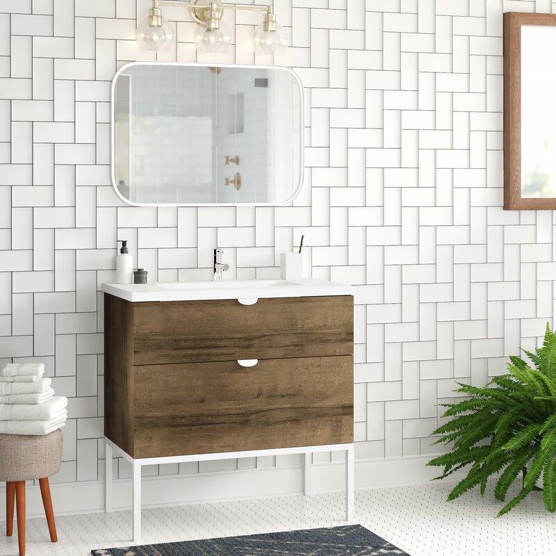 Foundstone Bronx 40 Single Bathroom Vanity Set With Mirror Wayfair