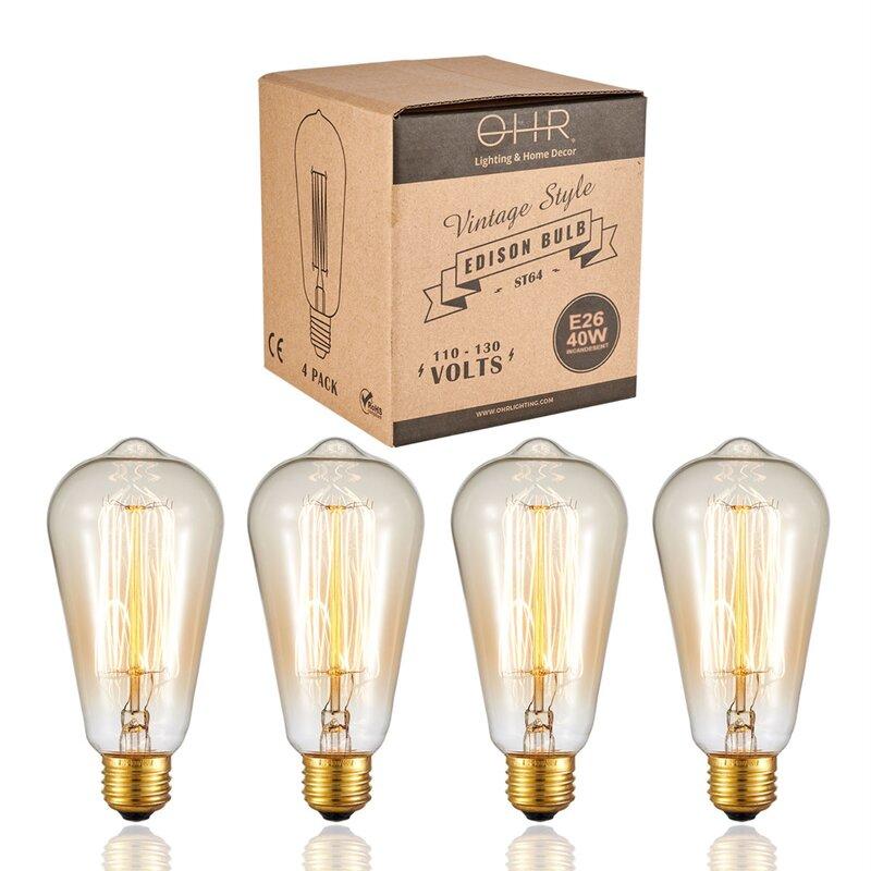 Ohrlighting 40 Watt St64 Incandescent Dimmable Light Bulb E26 Medium Standard Base Wayfair