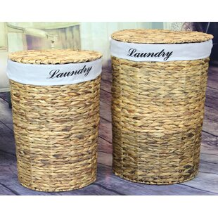 2 Piece Natural Water Hyacinth Round Wicker Laundry Set Vintiquewise