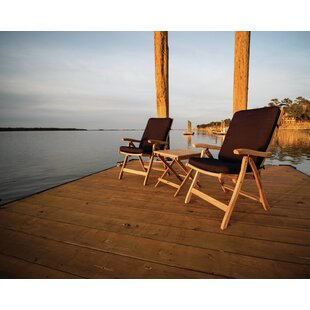 Heath 3 Piece Teak Sunbrella Seating Group With Sunbrella Cushions by Breakwater Bay Design