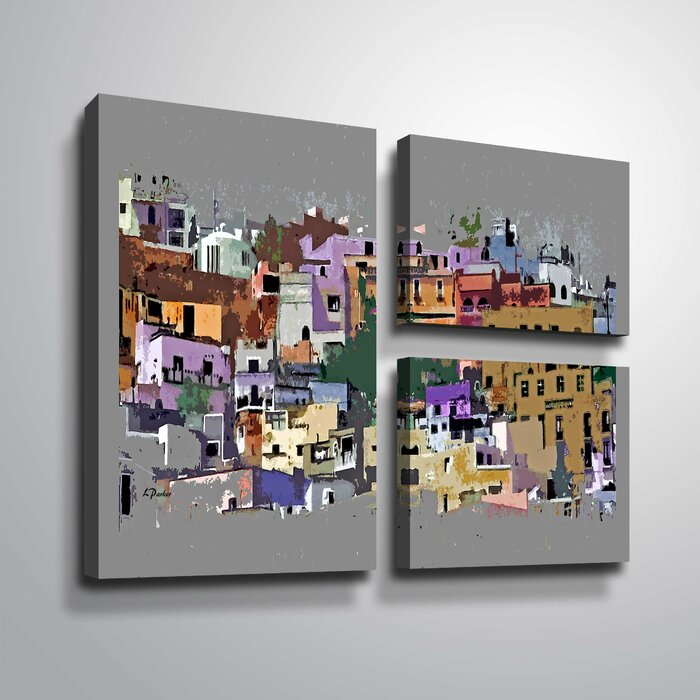 Hilltown In Abstract Acrylic Painting Print Multi Piece Image On Canvas