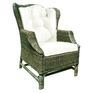 rattan wicker wingback chair set with cushions set of 2