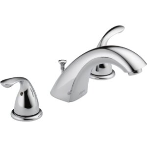 Mini-Widespread Double Handle Bathroom Faucet with Drain Assembly and Diamond Seal Technology