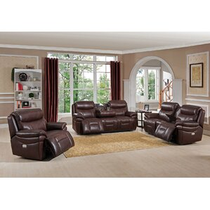 Sanford 3 Piece Leather Living Room Set by A..