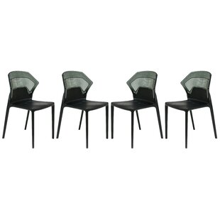 Shaul Two-Tone Stacking Patio Dining Chair (Set Of 4) by Wrought Studio Modern