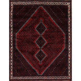 Inexpensive One-of-a-Kind Frame Shiraz Traditional Sirjan Hand-Knotted 6'8 x 9'1 Wool Burgundy/Black Area Rug By Isabelline