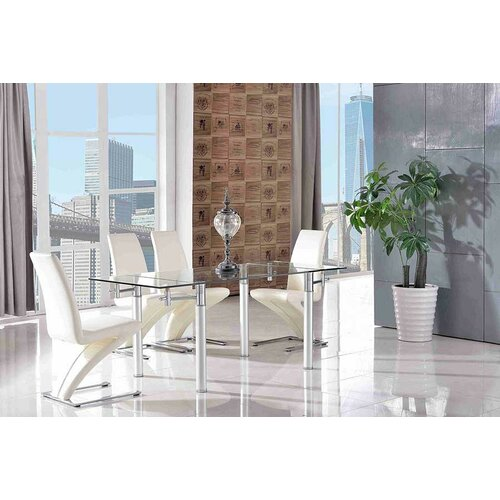 Bickford Steel Clear Glass Dining Set with 4 Chairs Metro La