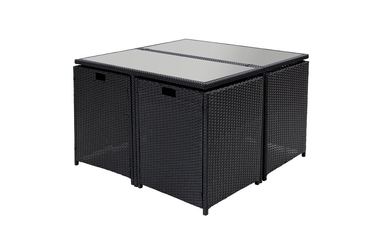space saving patio furniture. Cauley Space Saving Outdoor Furniture Rattan Patio 8 Piece Dining Set