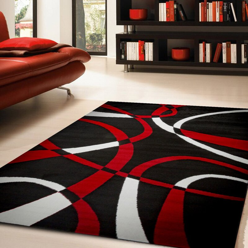 Black And Red Area Rugs ebern designs nevaeh black/white/red area rug & reviews | wayfair