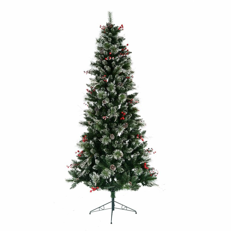 The Holiday Aisle Snow Tipped Berry 7' Green Pine ...