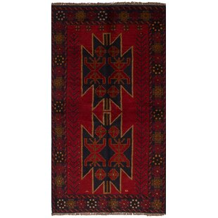 Top Reviews One-of-a-Kind Alaniz Hand-Knotted Wool Red/Black Area Rug By Isabelline