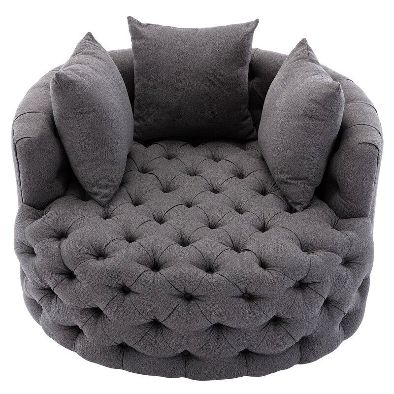 "Damis 42.5"" W Tufted Linen Swivel Barrel Chair"
