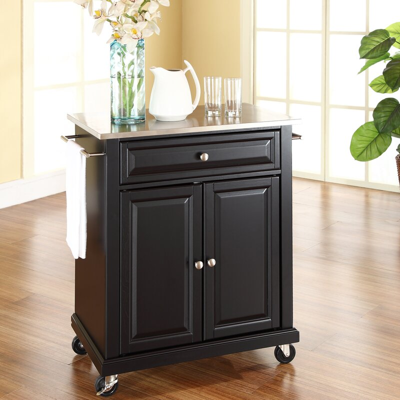 Thorpe Kitchen Cart With Stainless Steel Top