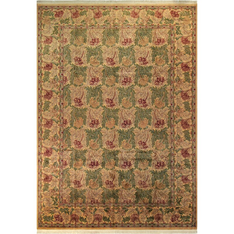 70d7a6e8c Bellomy Tulip Hand-Knotted Wool Green/Gold Area Rug