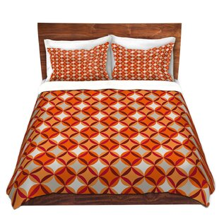 DiaNoche Designs Circles Red Duvet Cover Set