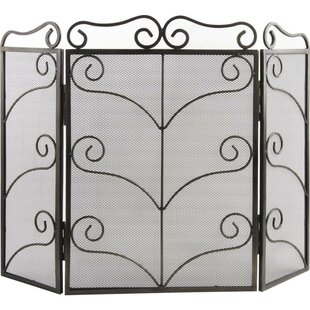 Christie 3 Panel Wrought Iron Fireplace Screen By Rosalind Wheeler