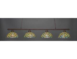 Red Barrel Studio Mendez 4-Light Crescent Tiffany Glass Shade Billiard Pendant