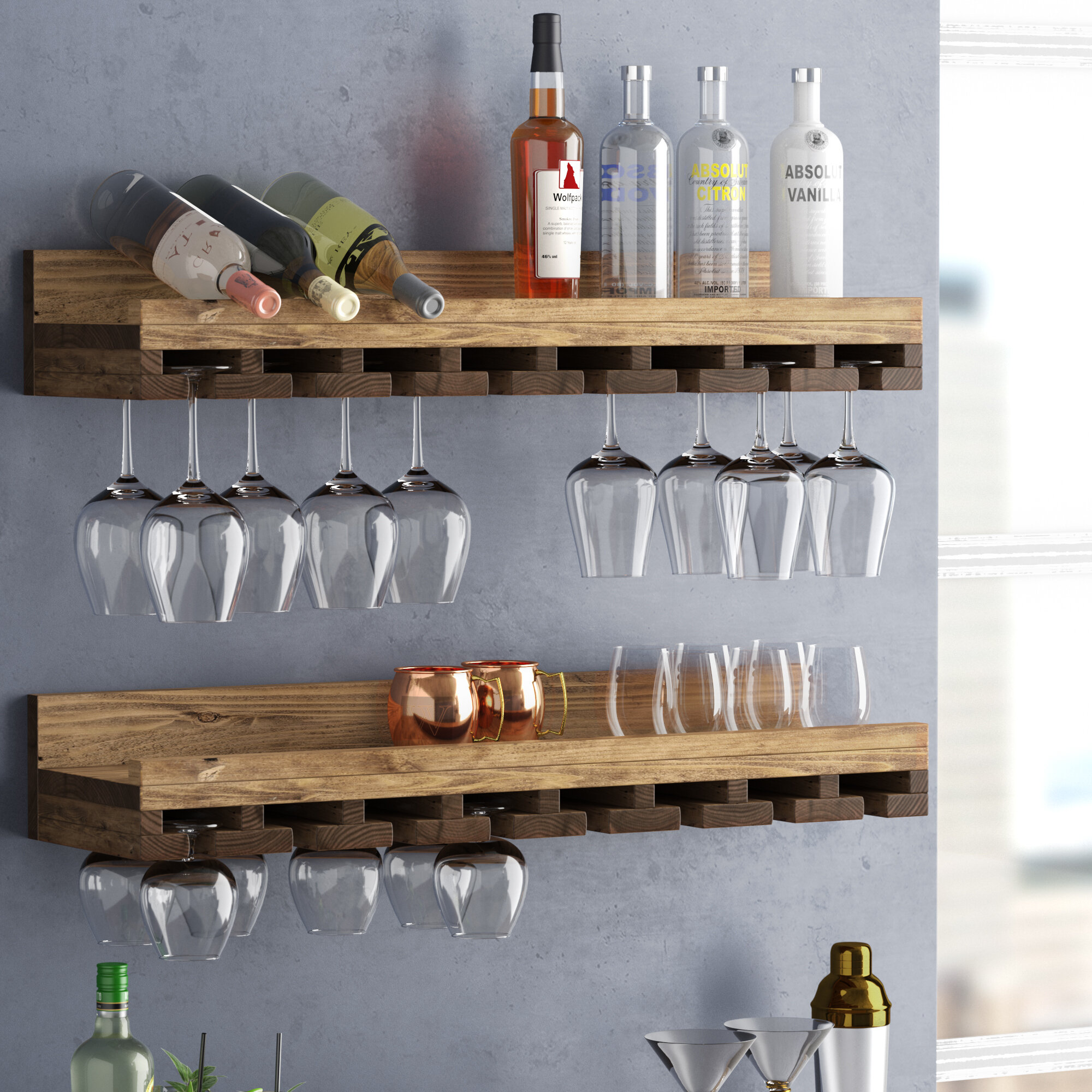 T Austin Design Bernardo Rustic Luxe Tiered Wall Mounted Wine Gl Rack Reviews Wayfair