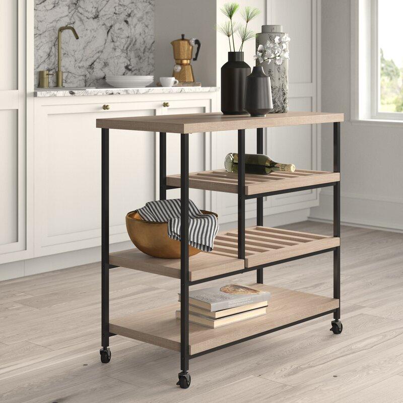 Beau Mercury Row Comet Kitchen Cart With Wooden Top U0026 Reviews | Wayfair