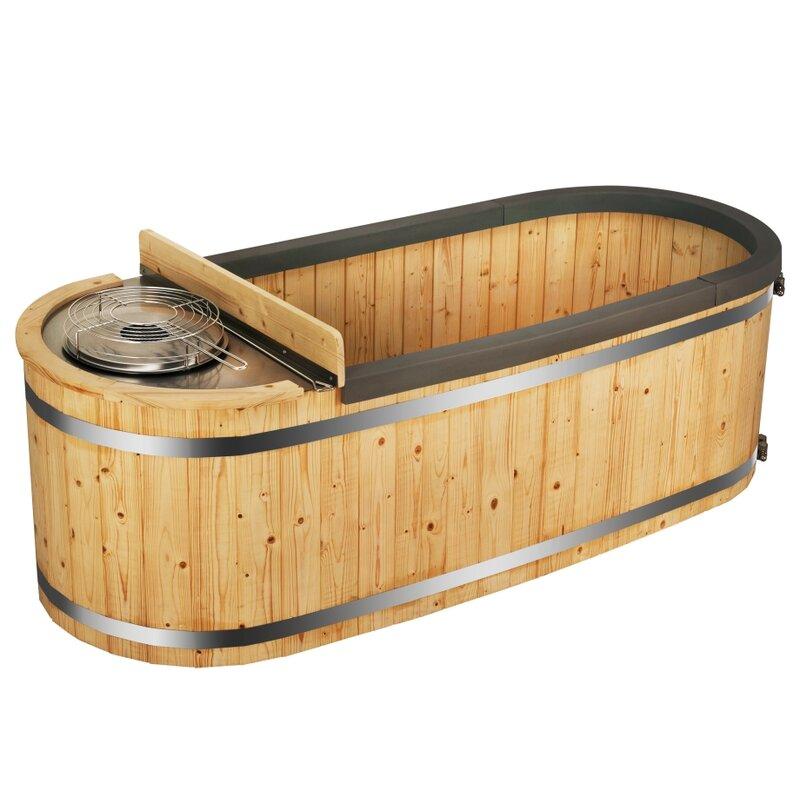 ALEKO Natural Pine Hot Tub with Charcoal Stove | Wayfair