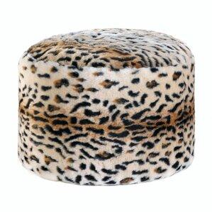 Hogan Snow Leopard Fuzzy Pouf Ottoman by Rosdorf Park