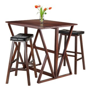 Brayan 3 Piece Drop Leaf Solid Wood Dining Set