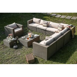 Wilford 10 Piece Patio Sectional Set with Cushions