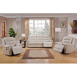 Red Barrel Studio Shantell Reclining 3 Piece Leather Living Room Set