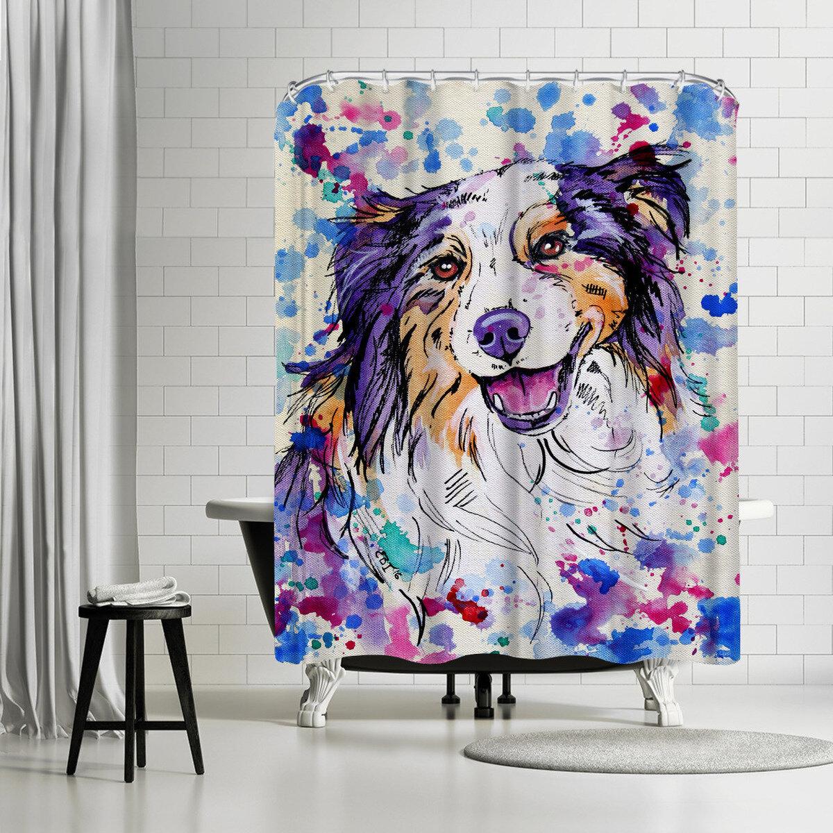 East Urban Home Eve Izzett Aussie Shepherd Iii Single Shower Curtain Wayfair