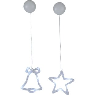 2 Piece 6-Light White Star And Bell Lamp Set By The Seasonal Aisle