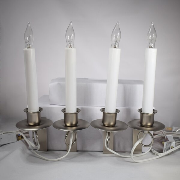 Bronze Plow /& Hearth Adjustable Window Hugger Candles Set of 4 with Remote