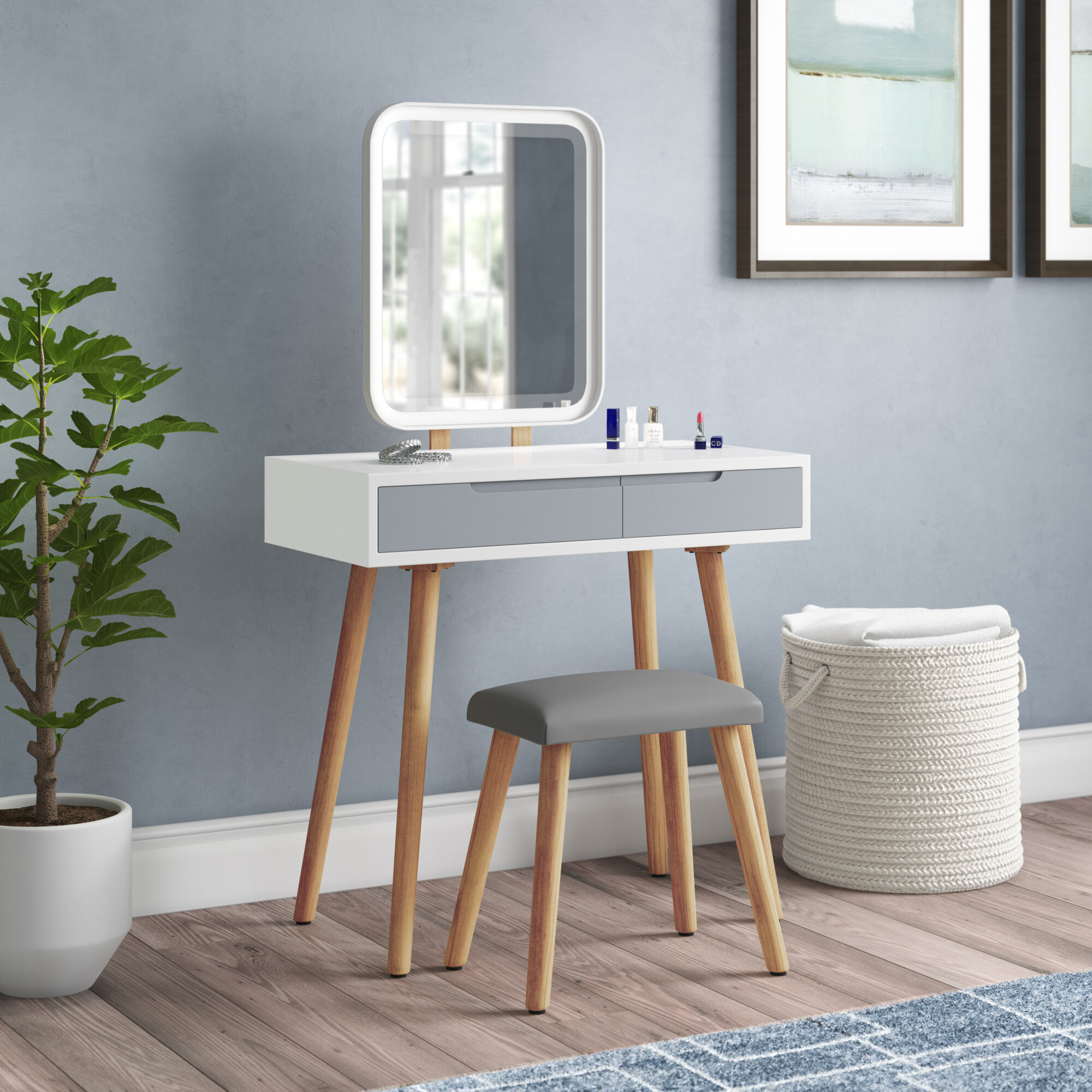 Wrought Studio Blando Solid Wood Vanity Set With Stool And Mirror Reviews Wayfair