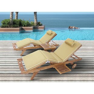 Puckett Reclining Teak Sun Lounger Set with Cushion and Table