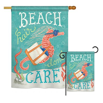Seahorse Beach Hair Nautical Impressions Decorative Vertical House Printed in American 2-Sided Polyester2 Piece Flag Set Breeze Decor