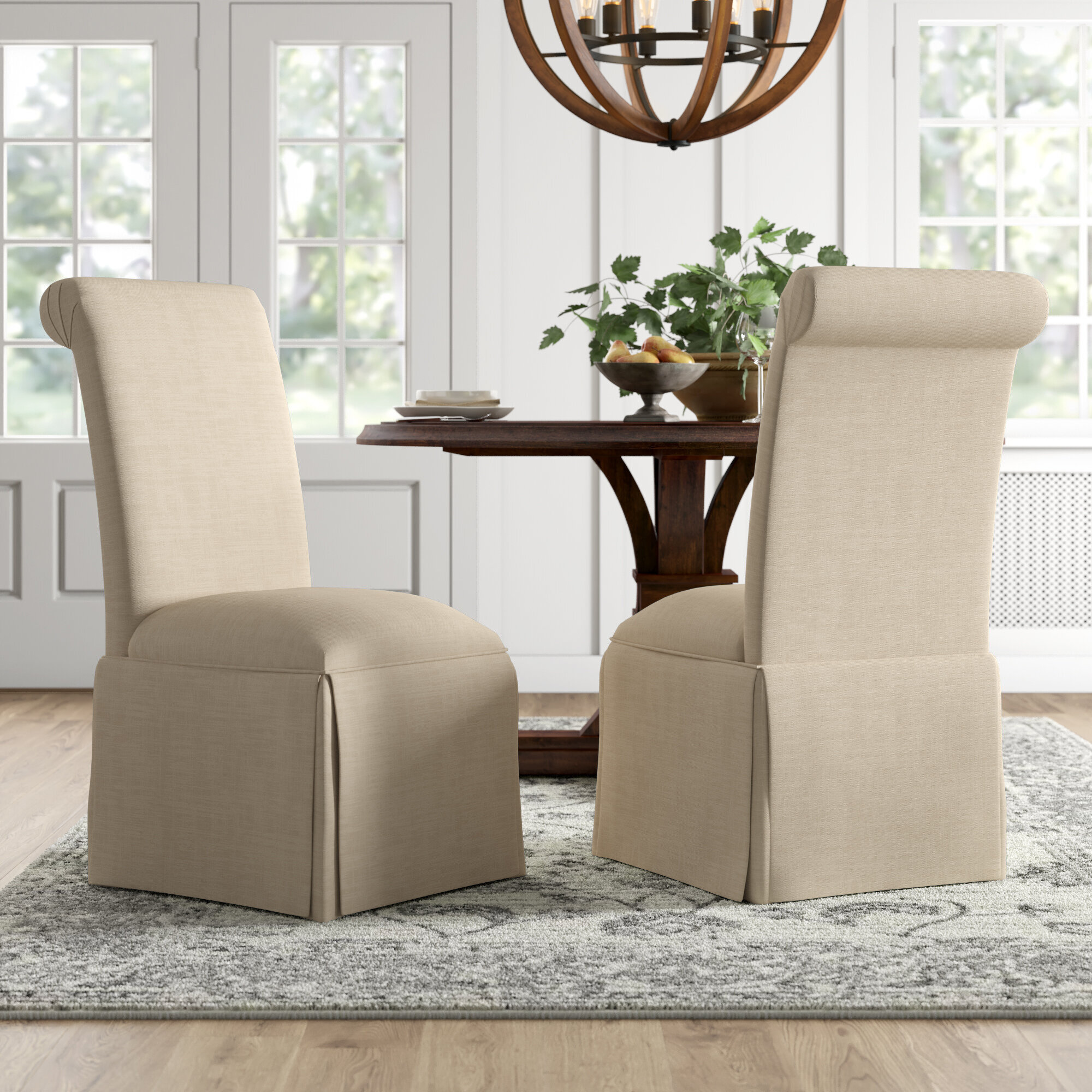 Weare Solid Back Skirted Upholstered Dining Chair
