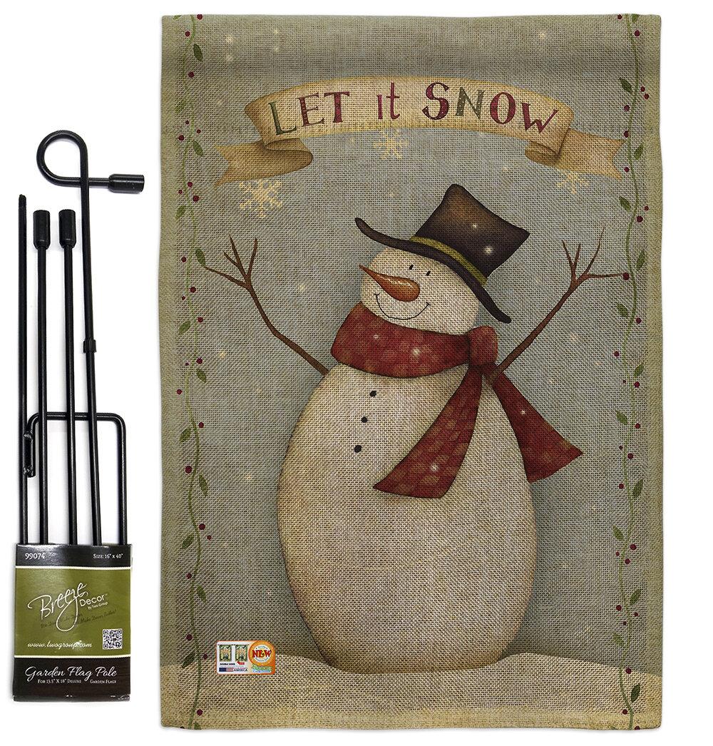 Breeze Decor Let It Snow Happy Snowman Winter Christmas Impressions 2 Sided Burlap 19 X 13 In Flag Set Wayfair