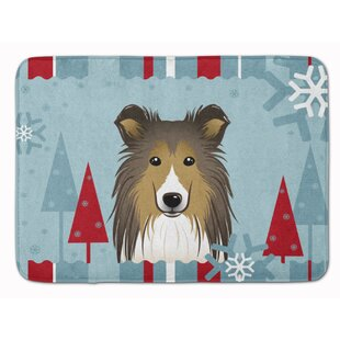 Winter Holiday Sheltie Memory Foam Bath Rug