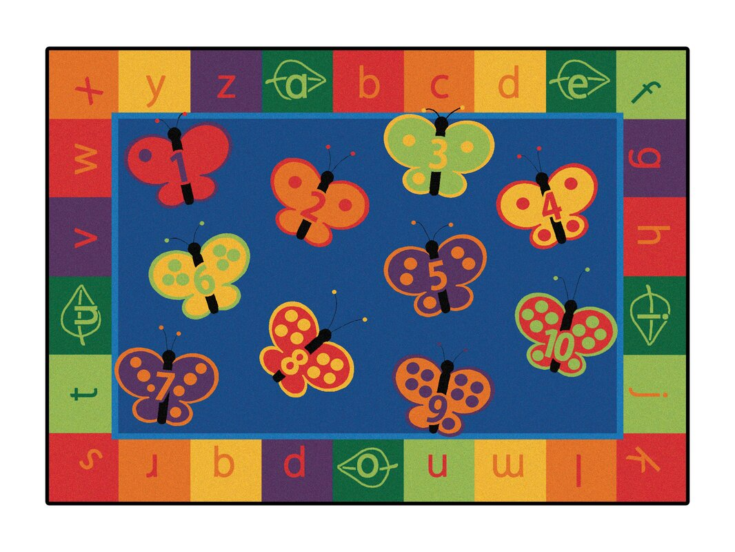 Awesome Camila 123 ABC Butterfly Fun Kids Area Rug