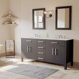 Linwood 72 Double Bathroom Vanity Set with Mirror by Orren Ellis