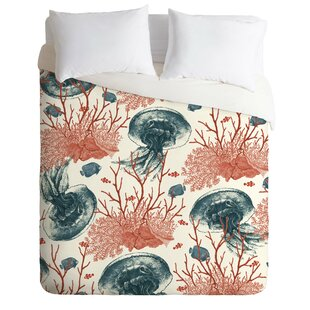East Urban Home Coral and Jellyfish Duvet Cover Set